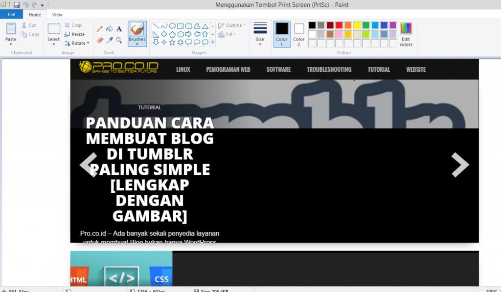 Menggunakan Tombol Print Screen (PrtSc)