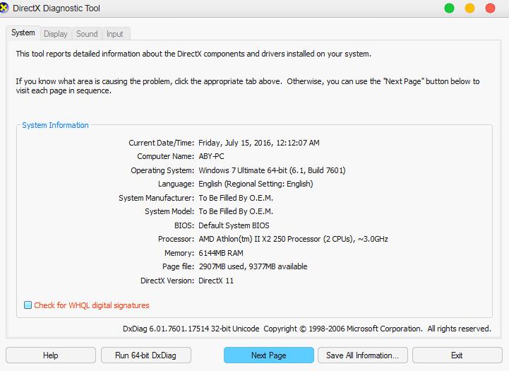 Menggunakan DirectX Diagnoatic Tools