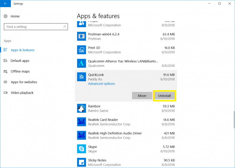 Cara Unistall Windows App2