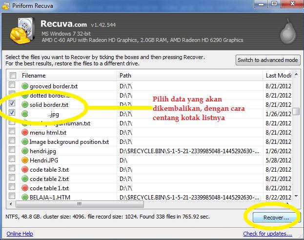 Cara Mengembalikan File Dengan Recuva2