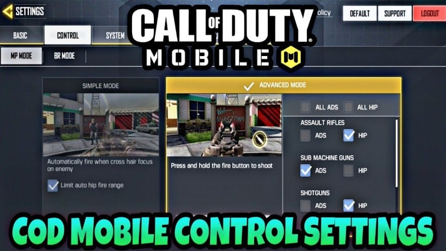 Setting Control call of duty