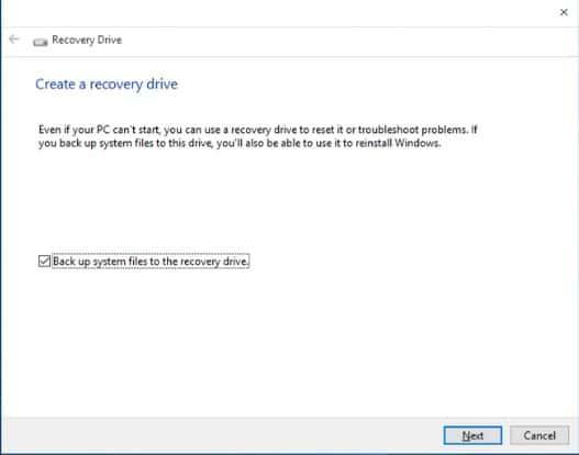 Recovery drive windows 2