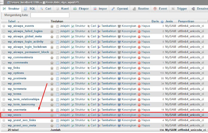 Reset melalui Database phpMyAdmin 7
