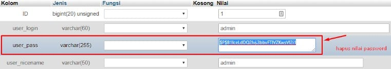 Reset melalui Database phpMyAdmin 9