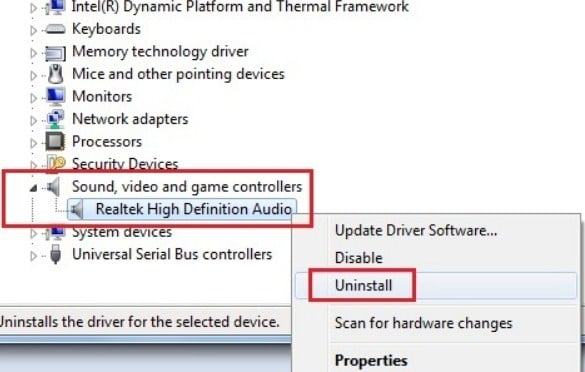 Uninstall Sound Driver di Device Manager 2